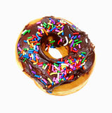 Chocolate Frosted Donut Sprinkles Overhead View Royalty Free Stock Photos