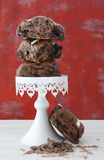 Chocolate Fruit Buns on White Cake Stand Stock Images