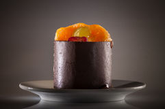 Chocolate fruit cake. A cake whit chocolate and fruit royalty free stock images