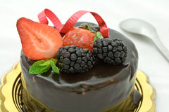 Chocolate and fruit cake Stock Photo