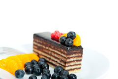 Chocolate and fruit cake Royalty Free Stock Images