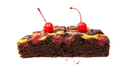 chocolate fruit cake isolated Stock Photography