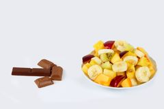 Chocolate and fruit Stock Photos