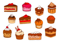 Chocolate, fruit pastries and desserts sketches Stock Photography