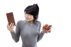 Chocolate or fruit salad Stock Photo