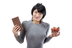 Chocolate or fruit salad Stock Images