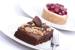 Chocolate fudge brownie and cheesecake Stock Images