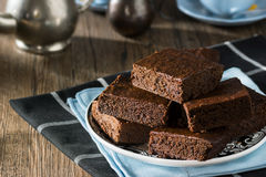 Chocolate Fudge Brownies with Hot Tea Royalty Free Stock Photo