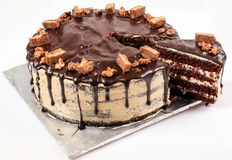 Chocolate Fudge Cake, Candy Topped Stock Photography