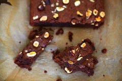 Chocolate fudge cake with hazelnuts, brownie Stock Photo