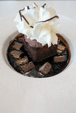 Chocolate fudge cake and ice cream on chocolate sauce Stock Photos