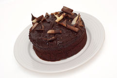 Chocolate fudge cake isolated Stock Photo