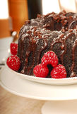 Chocolate fudge cake with powdered sugar Stock Images