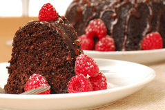 Chocolate fudge cake with raspberries Stock Photos