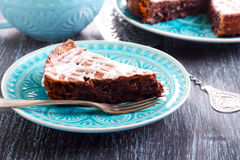 Chocolate fudge cake slice Stock Photo