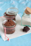 Chocolate fudge cakes. Delicious chocolate fudge cakes with piece of chocolate in little pots Stock Image