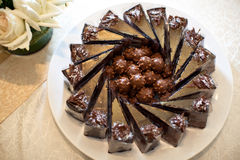 Chocolate Fudge. Canapés on buffet Royalty Free Stock Photography