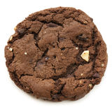 Chocolate Fudge Cookie. Large chocolate fudge cookie, isolated on white. Overhead view Stock Photos