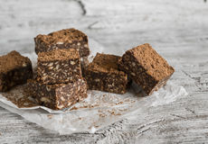 Chocolate fudge with cookies and nuts Stock Image