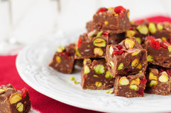 Chocolate Fudge with Glace Cherries, Pistachios and Coconut. Copy space for your text Royalty Free Stock Image
