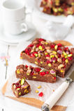 Chocolate Fudge with Glace Cherries, Pistachios and Coconut. Copy space for your text, selective focus, shallow dof Stock Photography