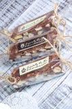 Chocolate fudge with hazelnuts and marshmallow Stock Image