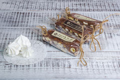 Chocolate fudge with hazelnuts and marshmallow Royalty Free Stock Photography