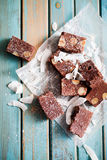 Chocolate fudge. With nuts and coconut Stock Photo