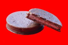 Chocolate fudge sandwich cookies or biscuits Stock Photography