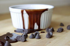 Chocolate Fudge Sauce. With chocolate chips Royalty Free Stock Photos
