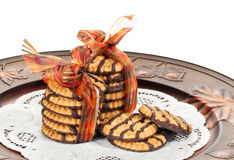 Chocolate fudge shortbread cookies Royalty Free Stock Photo