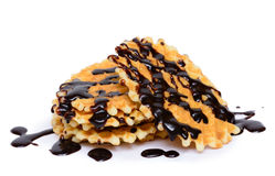 Chocolate fudge with vanilla waffle cookie Royalty Free Stock Photo