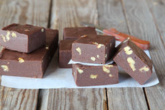 Chocolate fudge with walnuts Stock Images
