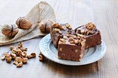 Chocolate fudge with walnuts royalty free stock photo