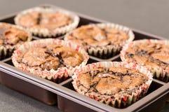 Chocolate fudgy brownies. On box Stock Photo