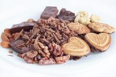 Chocolate, galletas y nueces mintiendo en la placa blanca Fotos de archivo libres de regalías