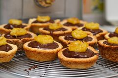 Chocolate ganache and banana tarts Stock Image