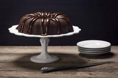 Chocolate Ganache Bundt Cake Stock Photo