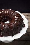 Chocolate Ganache Bundt Cake Slice Royalty Free Stock Images