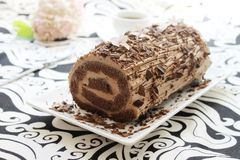 Chocolate ganache roulade Royalty Free Stock Images