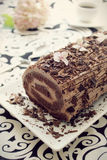 Chocolate ganache roulade Stock Photos