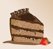 Chocolate gateau. A s chocolate gateau with a strawberry Stock Photos