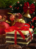 Chocolate gift. Various chocolates assorted and wrapped up as a gift royalty free stock photography