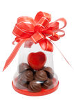 Chocolate gift. To the day of Sainted Valentine Royalty Free Stock Photography