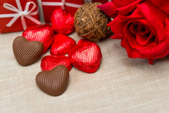 Chocolate, gift box and flowers Royalty Free Stock Image