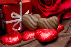 Chocolate, gift box. And flowers for Valentine's day Stock Images