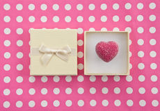Chocolate in gift box. Heart-shaped chocolate in decorative gift box Royalty Free Stock Photo