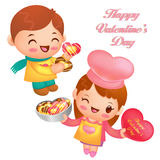 Chocolate gift is the chef's love. Valentine Character Design Se Stock Photo