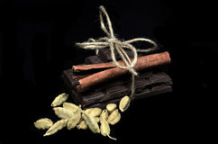 Chocolate gift with cinnamon Royalty Free Stock Images