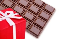 Chocolate gift over white Stock Photos